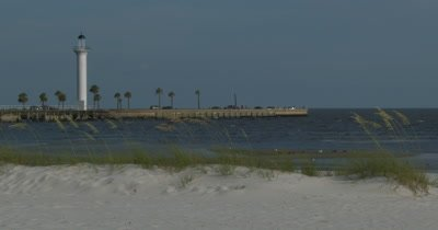 Lighthouse in Biloxi Mississippi on the sea shore