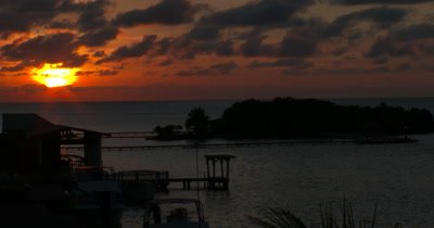 A Tropical Sunset Over a Resort Location on the Island of Roatan, Honduras