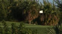 Golf Course Green In The Tropics With White Flag Flying In Breeze