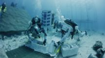 Astronauts Testing Prototype Asteroid Drill As Part Of Nasa Neemo 18 At Aquarius Reef Base