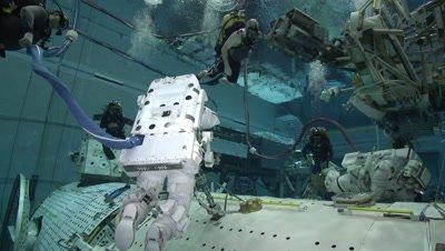 Astronaut training underwater at NASA's Neutral Buoyancy Laboratory