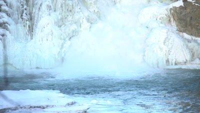 4K Frozen water fall - tilt down - NOT Colour Corrected