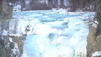 4K Frozen water fall - tilt up - NOT Colour Corrected