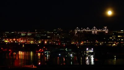 HD Harbour & Parliament building with full moon at night