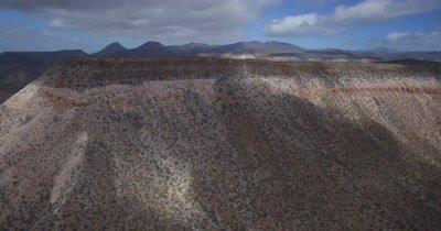 Aerial pan of mountainous desert landscape