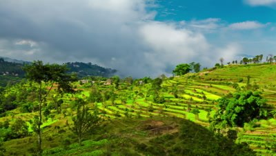 Time-lapse of a terraced, cultivated hillside in Nepal.