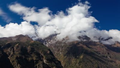 Time-lapse of clouds moving around Himalayan mountains.