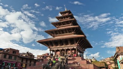 Time-lapse of Nyatapola temple in Bhaktapur, Nepal.