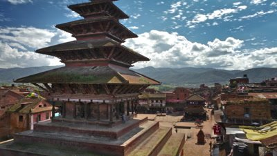 Time-lapse of Nyatapola temple and Taumadhi square in Bhaktapur, Nepal.