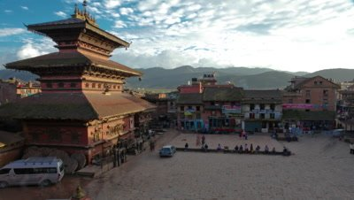 Time-lapse of dusk at Taumadhi square in Bhaktapur, Nepal.