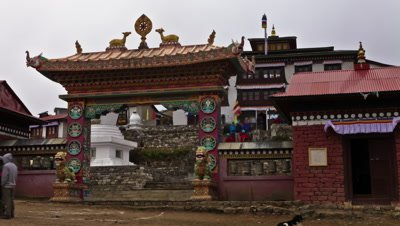 Time-lapse at the entrance to Tengboche Monastery in Nepal.