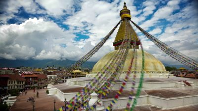 Time-lapse of Boudhanath Stupa in Boudha, Nepal.