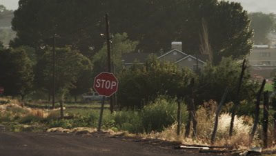 Panning shot of a street in a rural area in the USA.