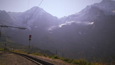 Train switch in the swiss alps