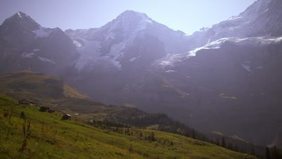 Footage of valley and Swiss Alps in the summertime