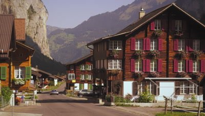 People on the street of small Swiss village