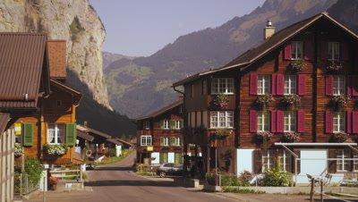 Quiet street of small Swiss village