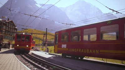 Cable cars at Alp train station near Grindelwald
