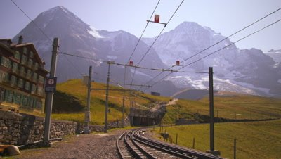Swiss railway next to hotel in Grindelwald