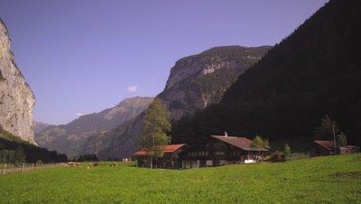Small Swiss farm in Lauterbrunnen Valley