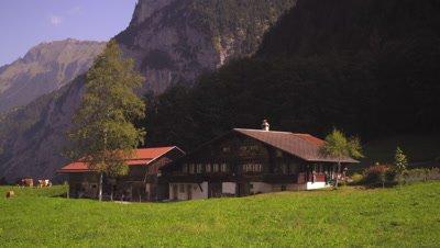 Picturesque Swiss farm in Lauterbrunnen Valley