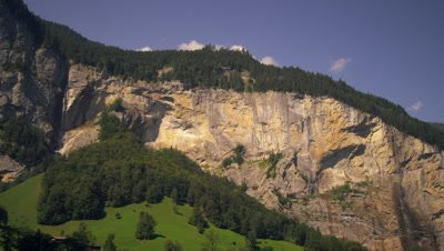 Panoramic view of Staubbach falls and Spissbach falls of the Lauterbrunnen Valley