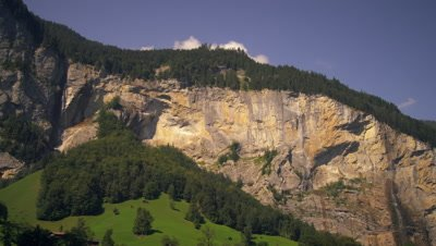 Panoramic view of two waterfalls of the Lauterbrunnen Valley