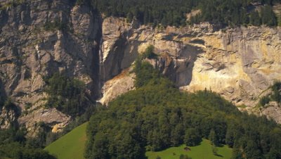 Panoramic view of Lauterbrunnen valley and Staubbach Falls