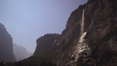 Static shot of a staubbach falls from Lauterbrunnen Valley