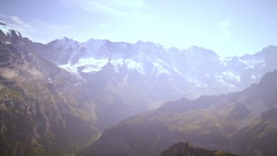 Panning shot of the majestic Swiss alps