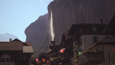 Static shot of a waterfall from Lauterbrunnen