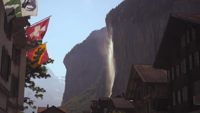 Static shot of waterfall near Lauterbrunnen, Switzerland