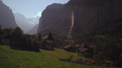 Static Shot of Lauterbrunnen waterfall, Switzerland
