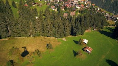 Tracking shot of a town in Switzerland taken from a descending tram