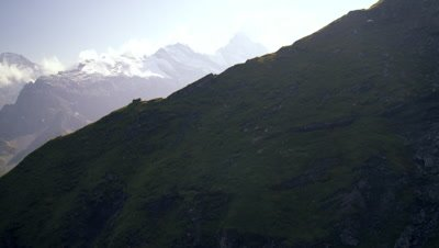 Descending dolly shot of the alps in Switzerland