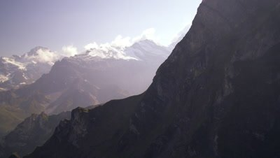 Panning shot of the beautiful Swiss alps