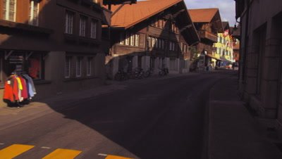 Dolly shot of a street in Switzerland