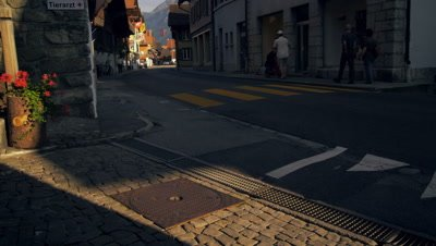 Twilight footage of a road in Brienz, Switzerland
