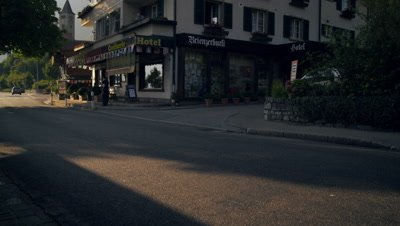 Footage tilting up side of hotel in Brienz