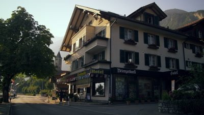 Low-angle footage of hotel in Brienz, Switzerland