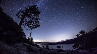 Timelapse shot of the night sky over Emerald Bay, Nevada.