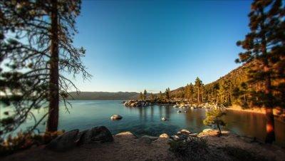 Timelapse shot of Sand Harbor, Lake Tahoe in Nevada.