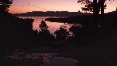 Static silouhette shot of dusk above Emerald Bay, Lake Tahoe, California.