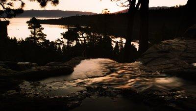 Dusk shot of stream running into river above Emerald Bay, Lake Tahoe, California.