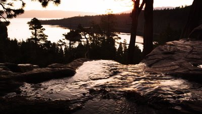 Shot of ripples in stream as it runs into river above Lake Tahoe, California.