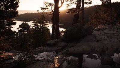Shot of stream and trees at dusk above Emerald Bay, Lake Tahoe, California.