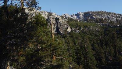 Still shot of mountain cliffs above Emerald Bay, Lake Tahoe, California.