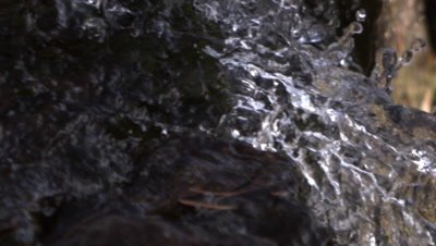 Close up shot of water rushing over rock in the shade. Slow motion.