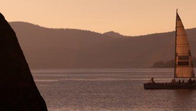 Static shot of sailboat at dusk. Shot at Emerald Bay State Park, Lake Tahoe, California