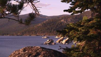 Static shot of Emerald Bay at Lake Tahoe, California.